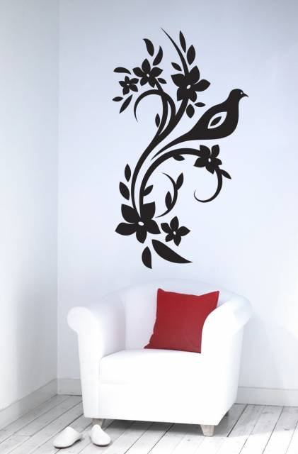 Pigeon And Flower Wall Sticker