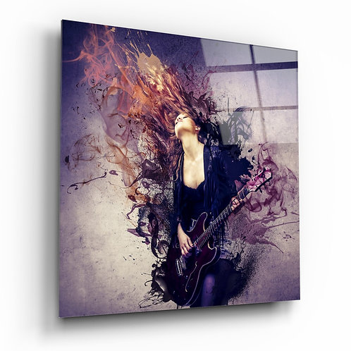 Woman and Guitar Glass Table