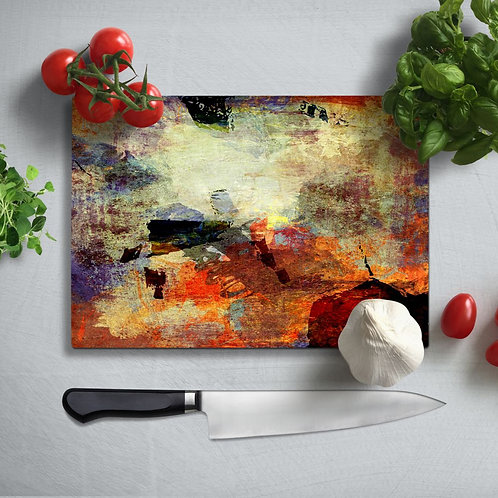 Abstract Uv Printed Glass Chopping Board 35x25cm