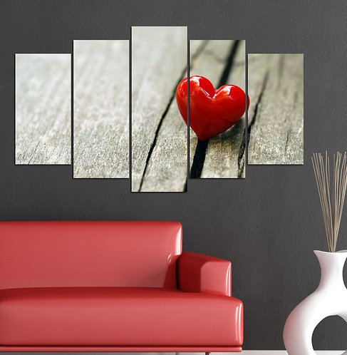Heart 5 Pieces MDF Painting