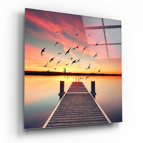 Red Dock UV Printed Glass Painting