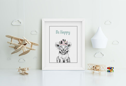 Lion-Be Happy Framed Printing