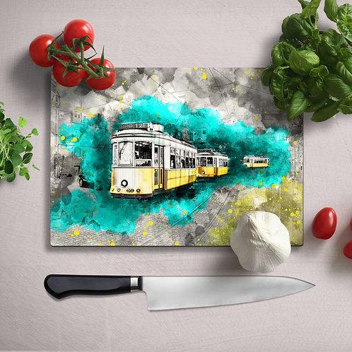 Yellow Tram Uv Printed Glass Chopping Board 35x25cm