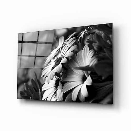 Monochrom Flower UV Printed Glass Printing