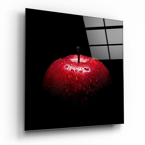 Red Apple UV Printed Glass Painting