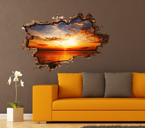 Sunset at Sea 3D Wall Sticker