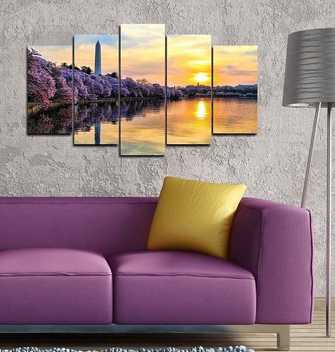 Sunset on the Lake 5 Pieces MDF Painting