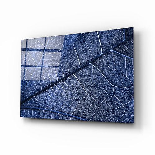 Macro Blue Leaf Glass Printing
