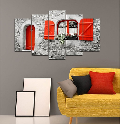 Red Window 5 Pieces MDF Painting