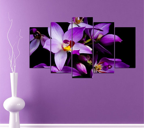 purple flower 5 Pieces MDF Painting
