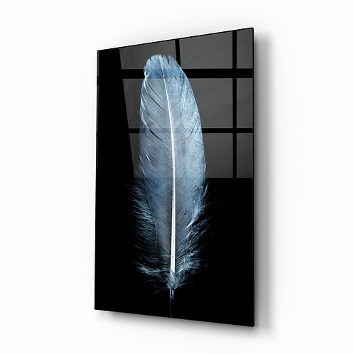 Blue Feather UV Printed Printed Printed Glass Printing