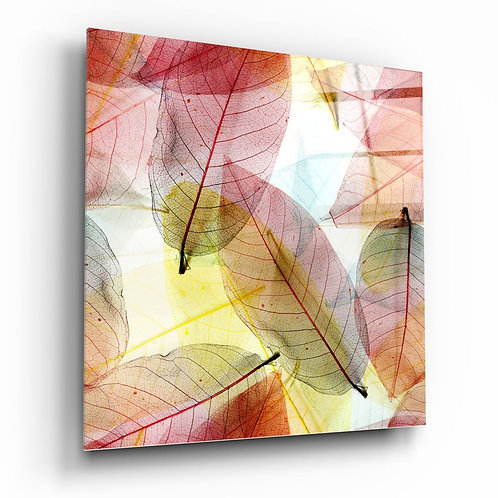 Colored Leaves UV Printed Glass Painting