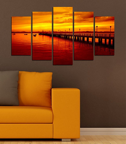Pier at Sunset 5 Pieces MDF Painting