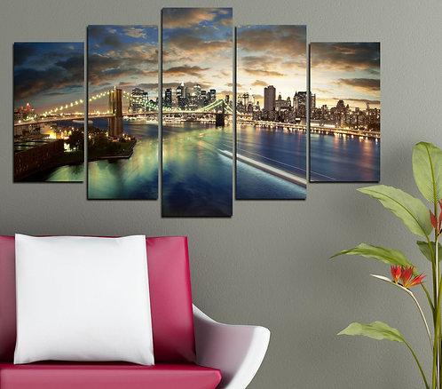 Manhattan Bridge 5 Pieces MDF Painting