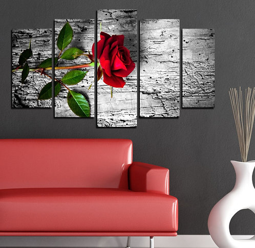 Red rose 5 Pieces MDF Painting