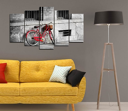 Red Bicycle 5 Pieces MDF Painting
