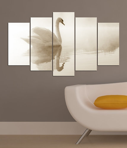 White 5 Pieces MDF Painting