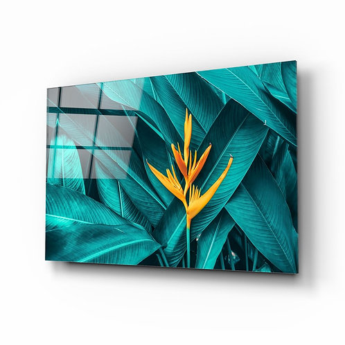 Tropical Leaf UV Printed Glass Painting