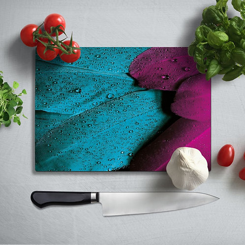 Colorful Feather  Uv Printed Glass Chopping Board 35x25 cm