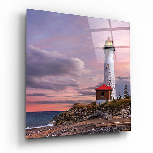 Lighthouse UV Printed Glass Painting