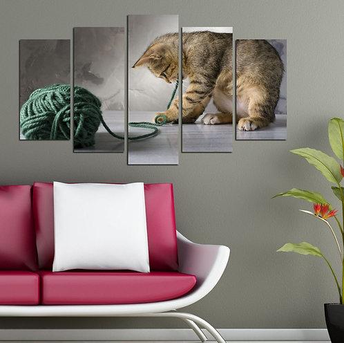 Cat (7) 5 Pieces MDF Painting