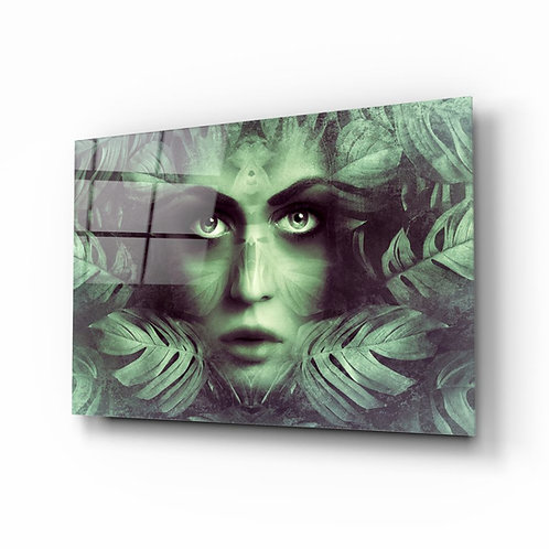 Tropical Leaf and Woman Portrait Glass Printing