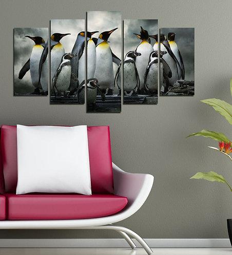 Penguins 5 Pieces MDF Painting