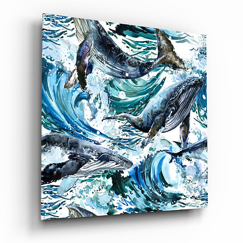 Dance of Whales Glass Printing