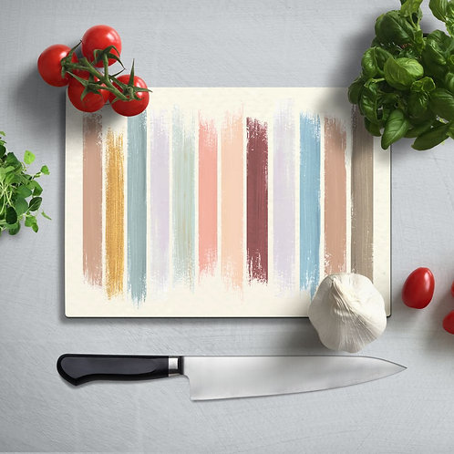 Lines  Uv Printed Glass Chopping Board 35x25 cm