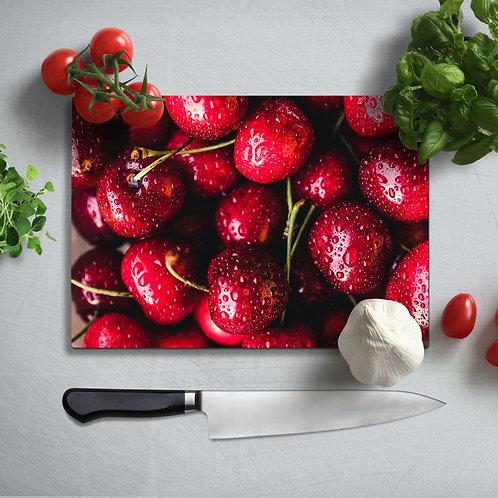Cherry  Uv Printed Glass Chopping Board 35x25 cm