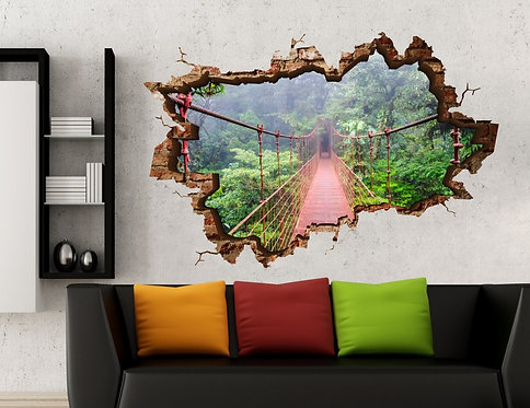 Suspension Bridge 3D Wall Sticker