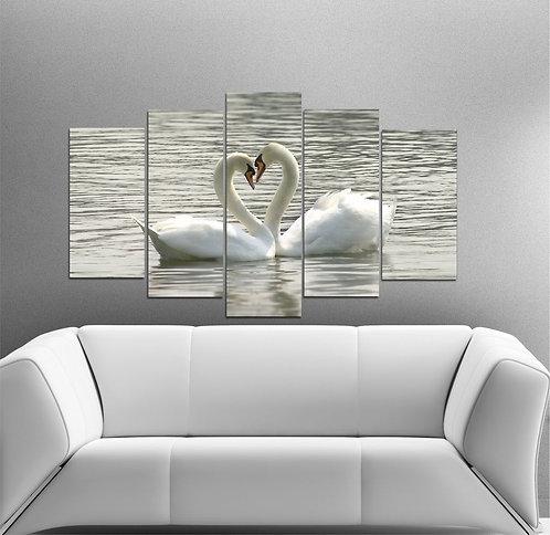 Double Swan 5 Pieces MDF Painting