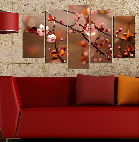 Flowers on branch (3) 5 Pieces MDF Painting