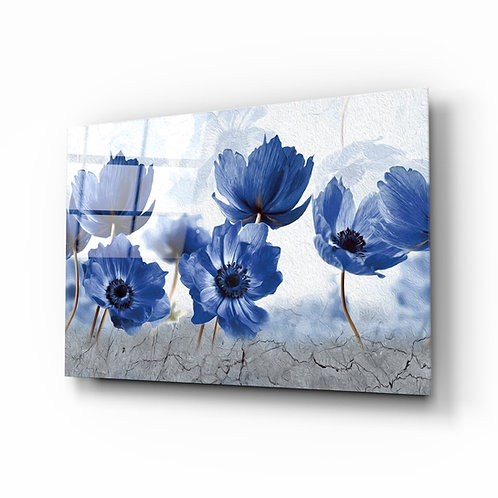 Blue Flowers Glass Printing