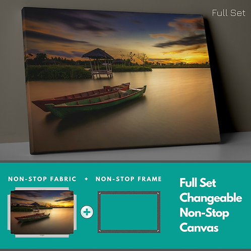 Boat And Sunset Non-Stop Canvas Printings
