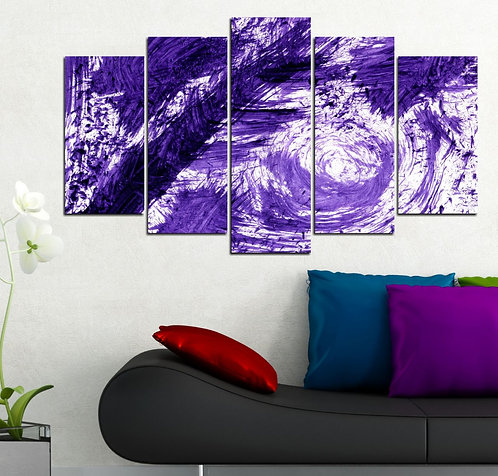 Purple 5 Pieces MDF Painting