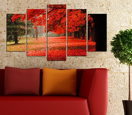 Red leaves (2) 5 Pieces MDF Painting
