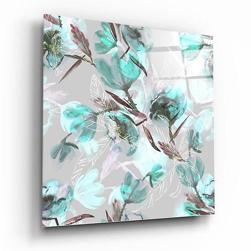 Green Flower UV Printed Glass Printing