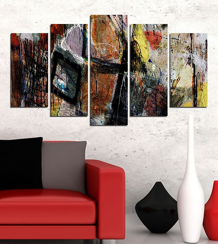 Abstract (27) 5 Pieces MDF Painting