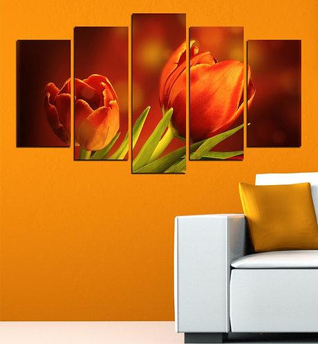 Tulip (5) 5 Pieces MDF Painting
