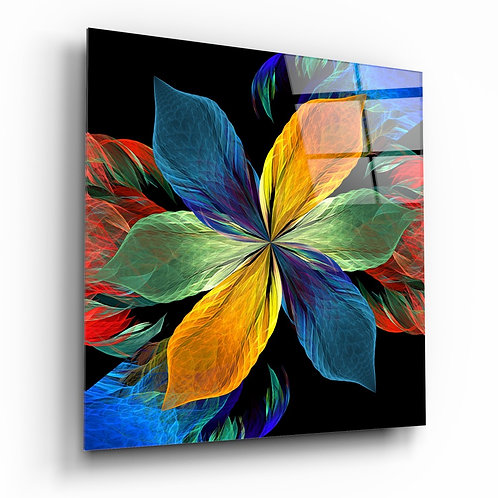 Colorful Leafy Flower Glass Table