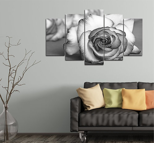 Black and White Rose 5 Pieces MDF Painting