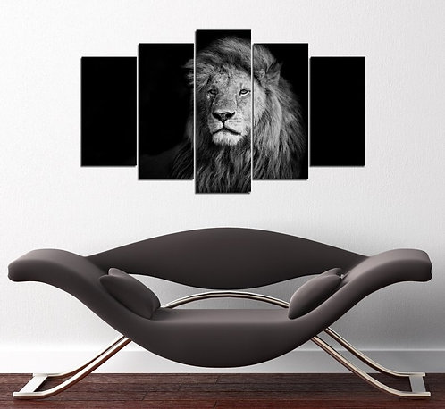 Lion 5 Pieces MDF Painting