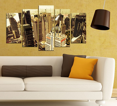 City view (2) 5 Pieces MDF Painting