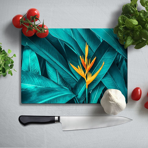 Tropical Leaf Uv Printed Glass Chopping Board 35x25cm