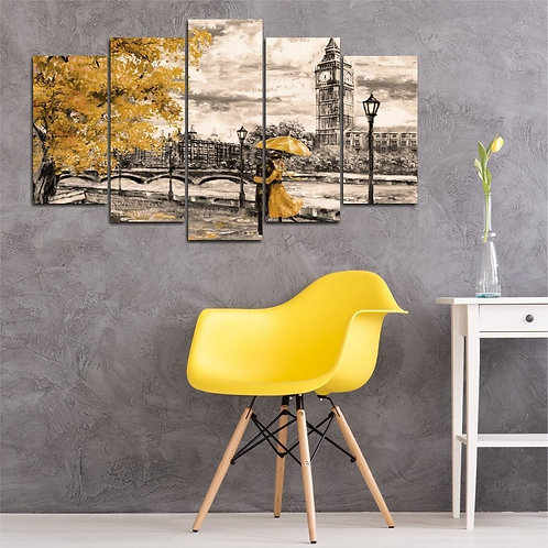 London 5 Pieces MDF Painting