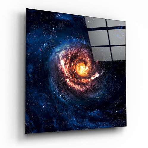 Space- Red Infinity Glass Painting
