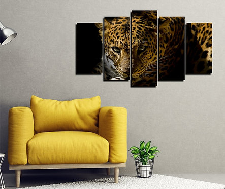 Leopard 5 Pieces MDF Painting