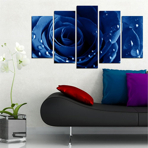 blue Rose 5 Pieces MDF Painting