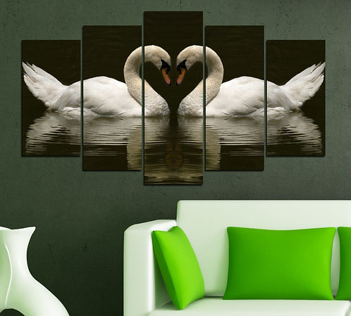 swans 5 Pieces MDF Painting